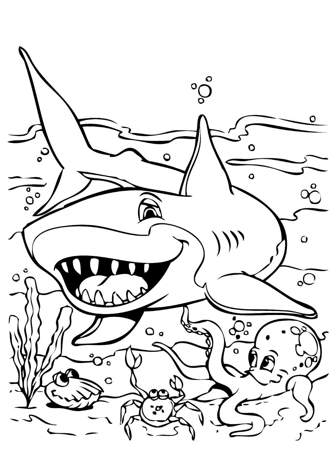 Акула в море - раскраска №1059 | Printonic.ru