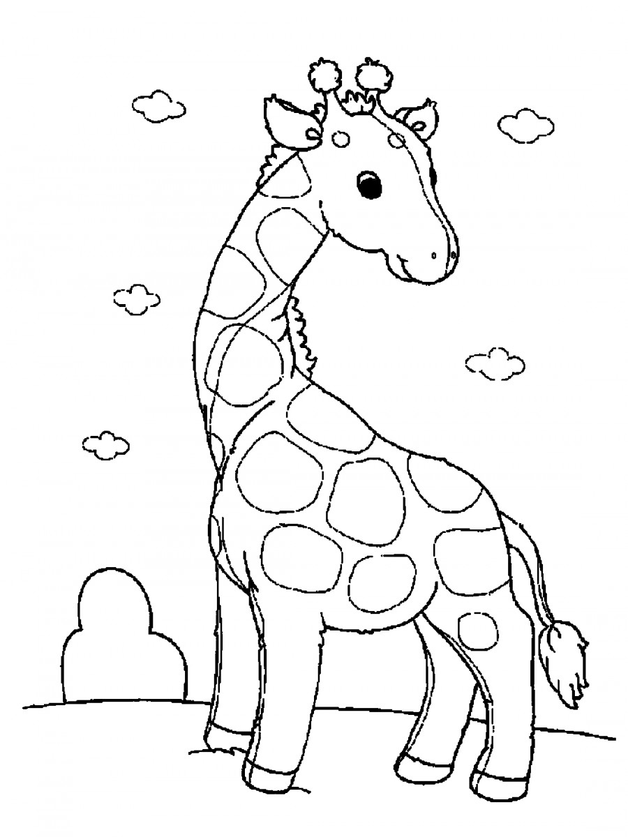 Жираф и облака - раскраска №1183   Printonic.ru