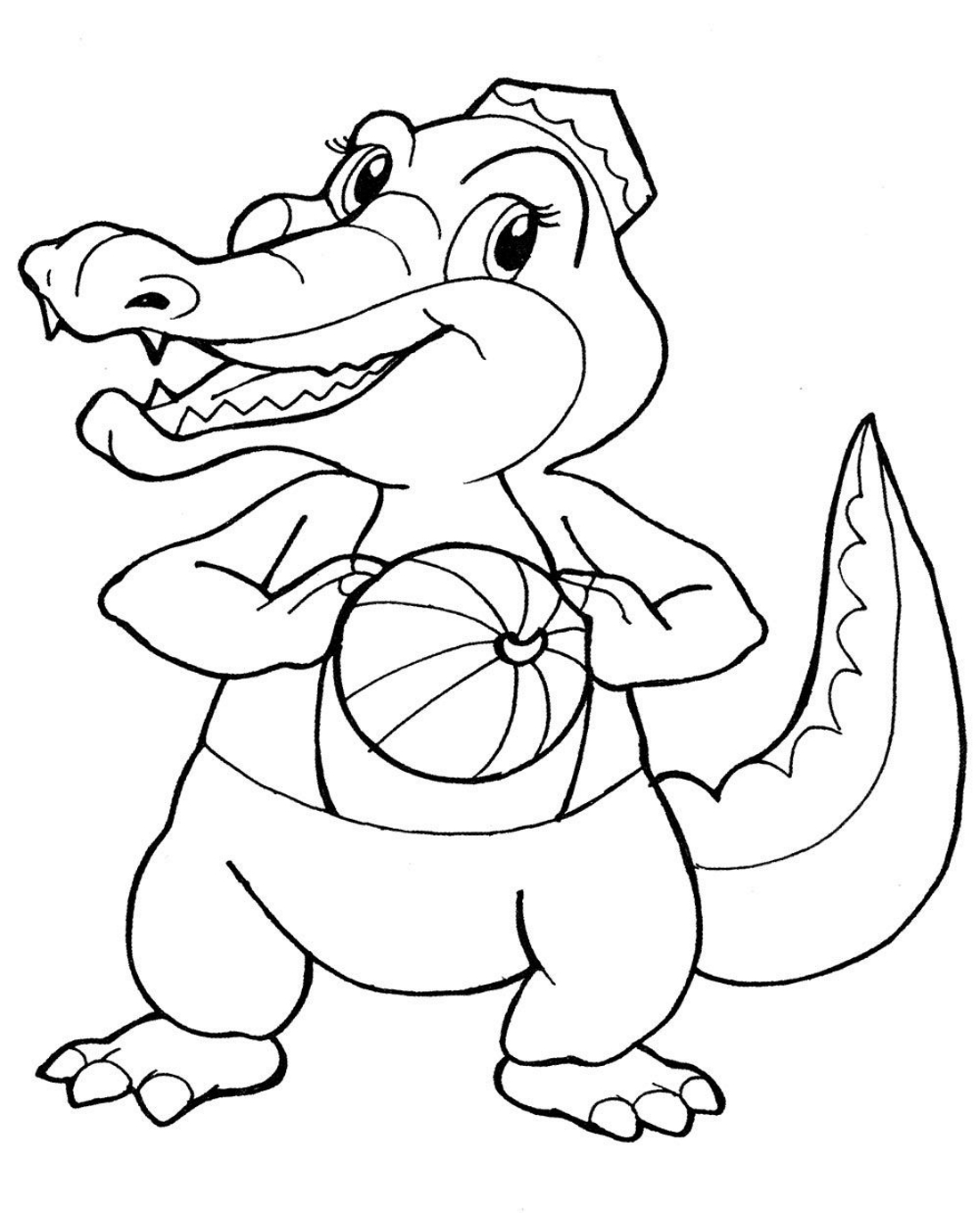 Крокодил с мячиком - раскраска №1302 | Printonic.ru