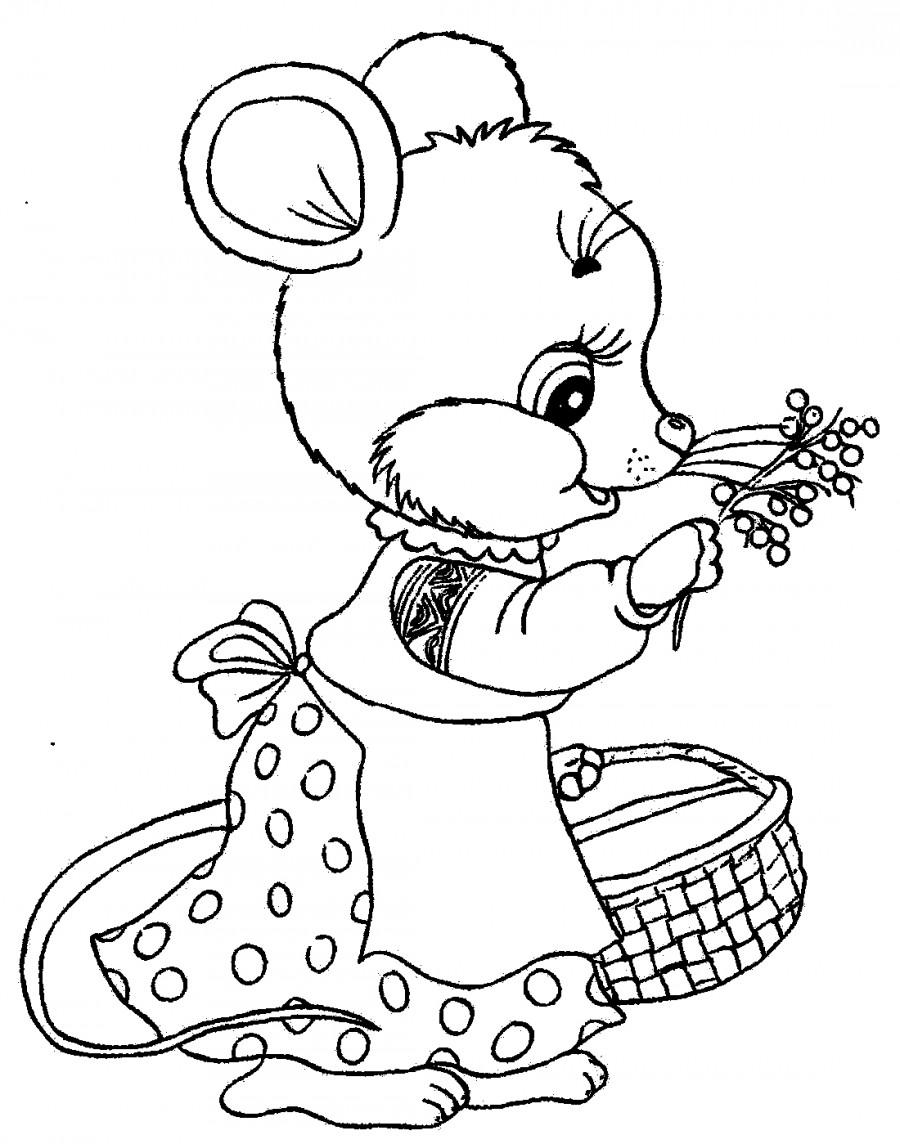 Мышь с корзинкой - раскраска №2280   Printonic.ru