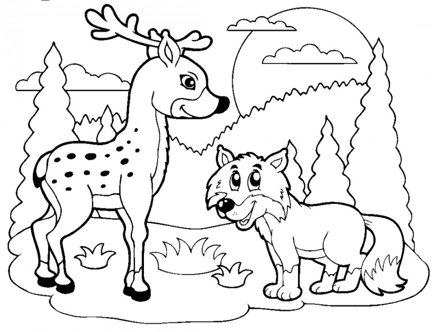 Олень и волк - раскраска №2314 | Printonic.ru
