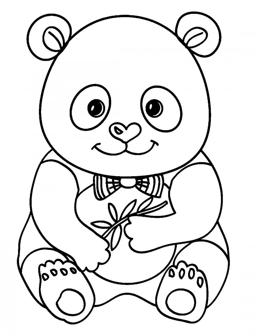 Панда с бантиком - раскраска №2078 | Printonic.ru