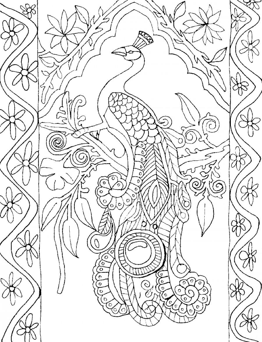 Павлин и узоры - раскраска №2093 | Printonic.ru