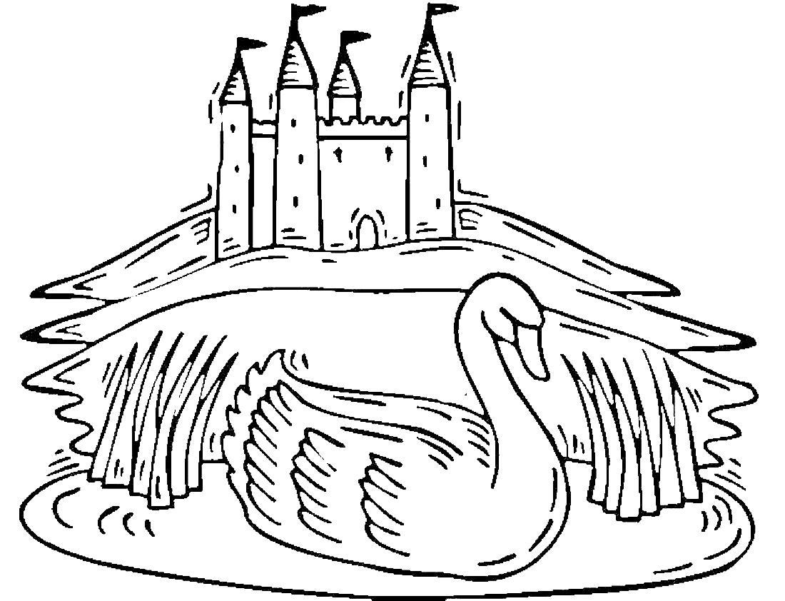 Лебедь и замок - раскраска №13952   Printonic.ru