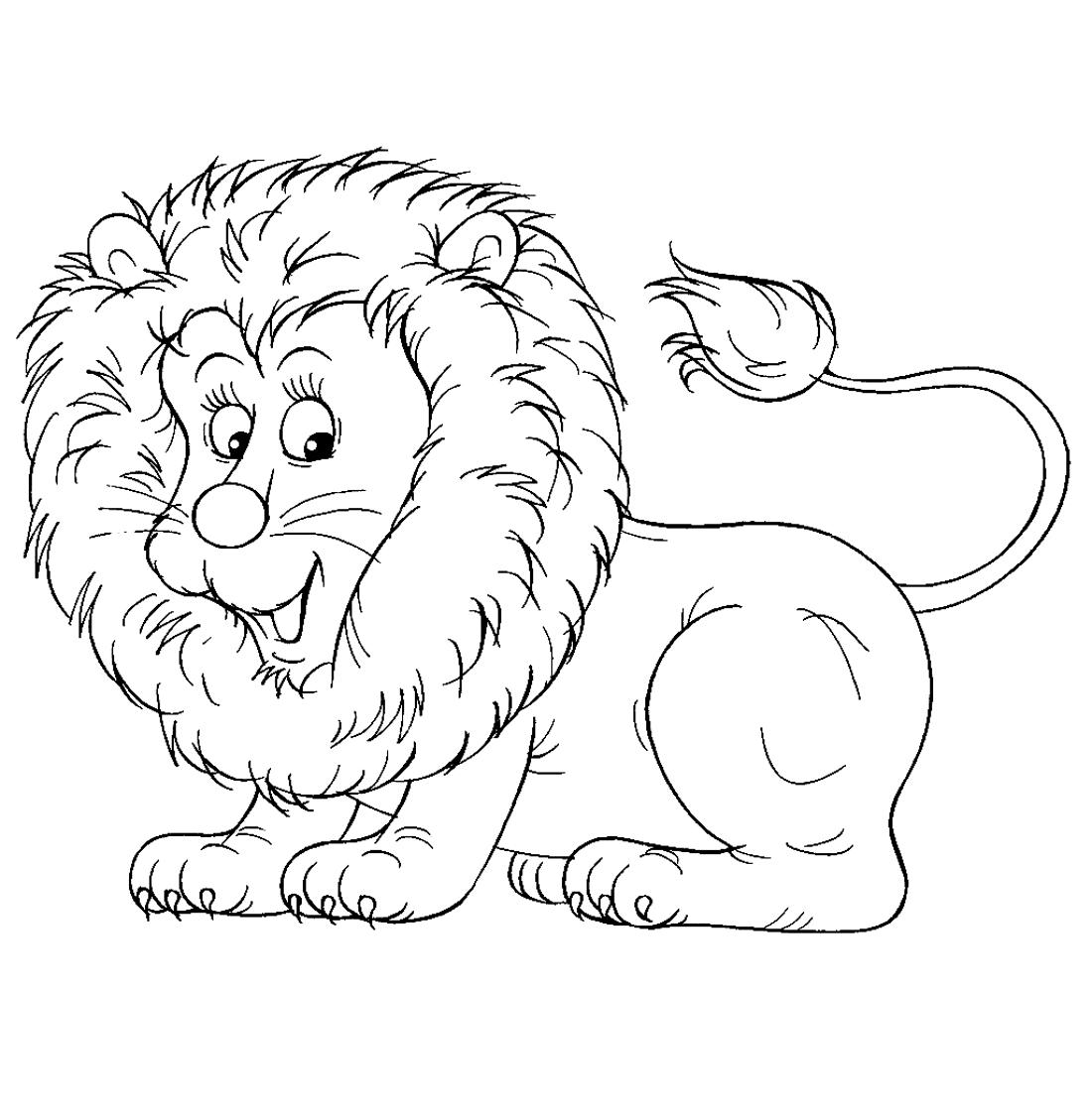 Картинка раскраска лев для детей на прозрачном фоне