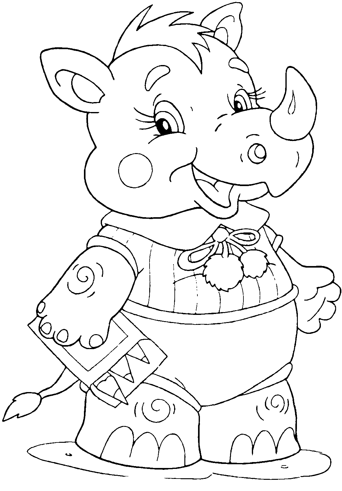 Носорог с карандашами - раскраска №13608 | Printonic.ru