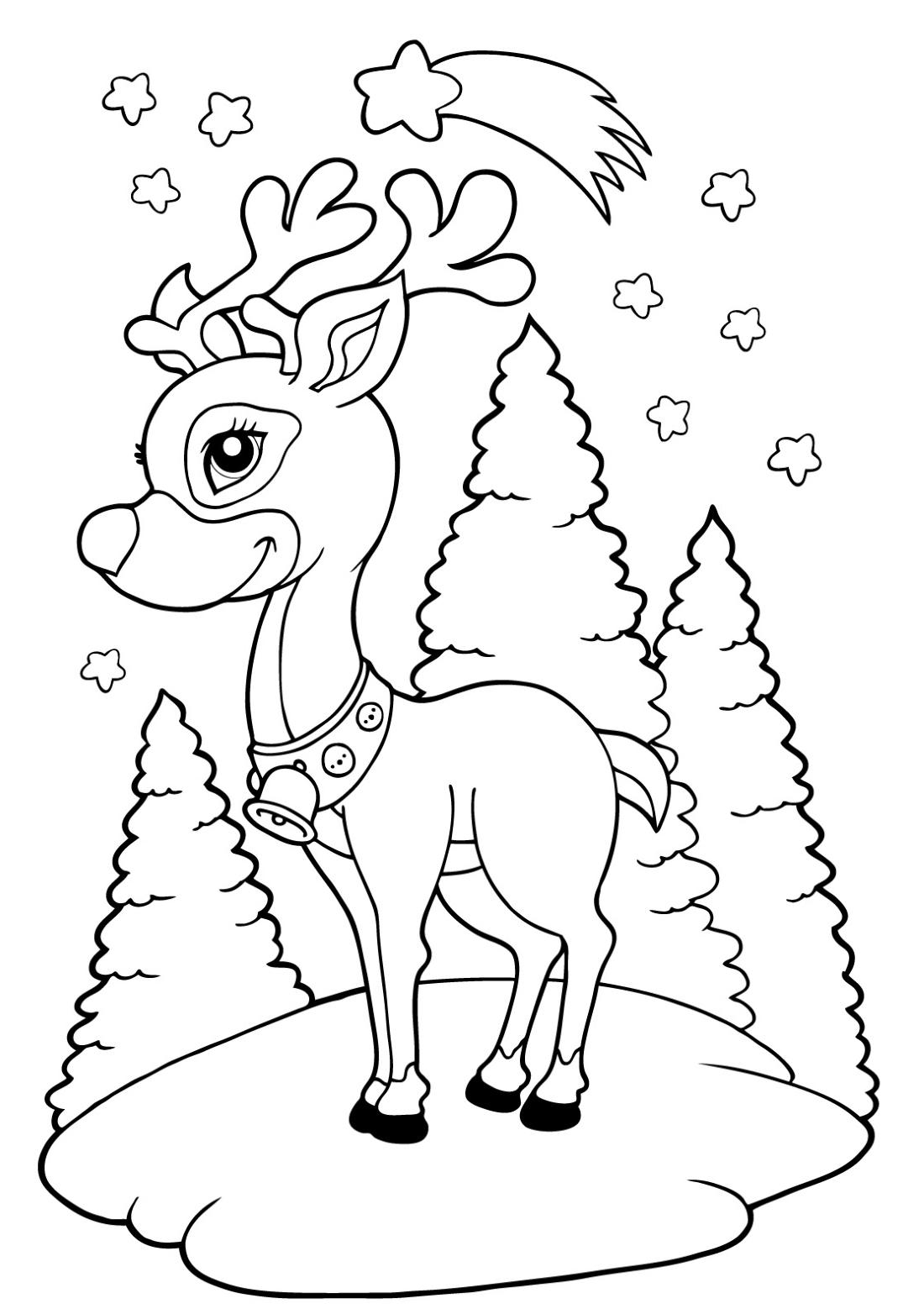 Новогодний олень - раскраска №2071 | Printonic.ru