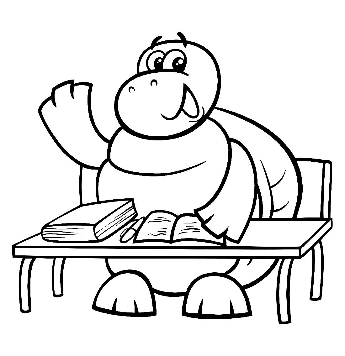 Черепаха в школе - раскраска №13172 | Printonic.ru