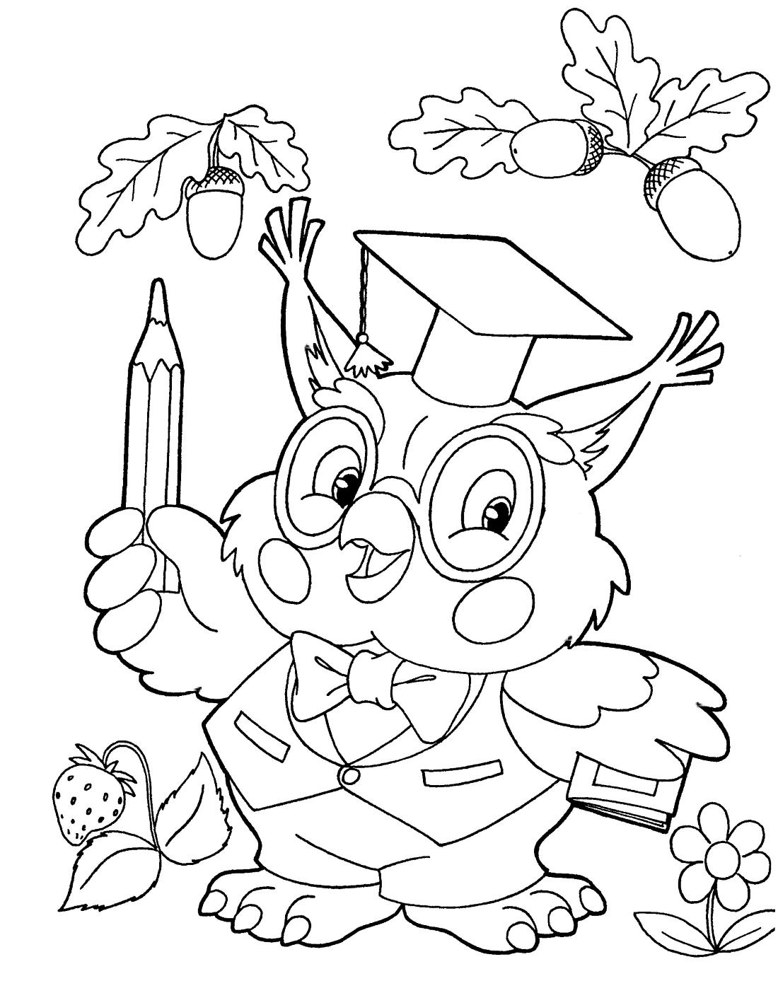 Умная сова с карандашами - раскраска №2232 | Printonic.ru