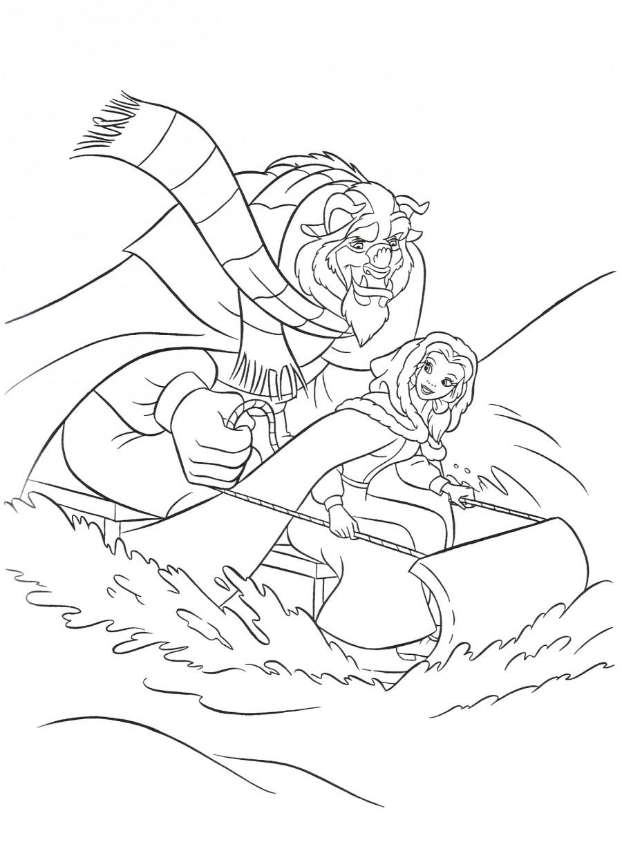 Чудовище и Белль катаются на санях - раскраска №3082 ...
