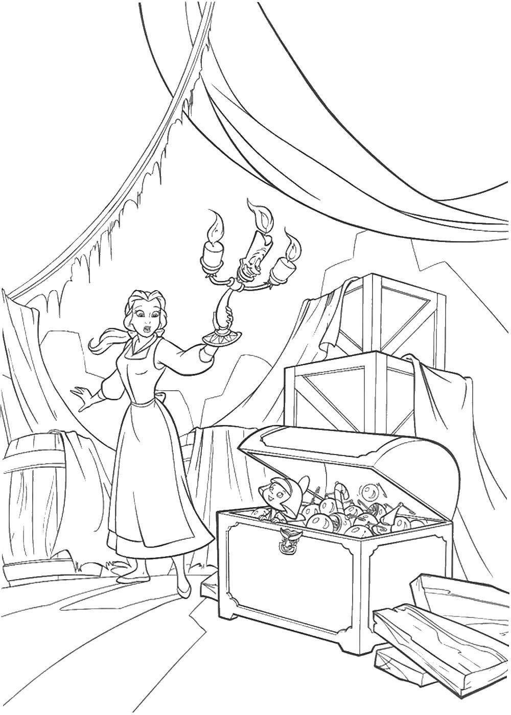 Белль в замке - раскраска №13193 | Printonic.ru