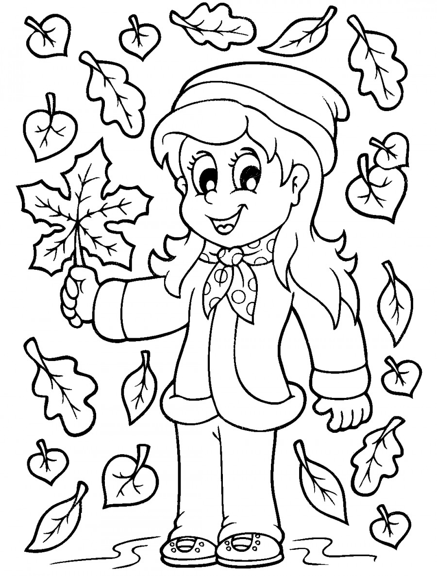 Девочка с листочками - раскраска №10159   Printonic.ru