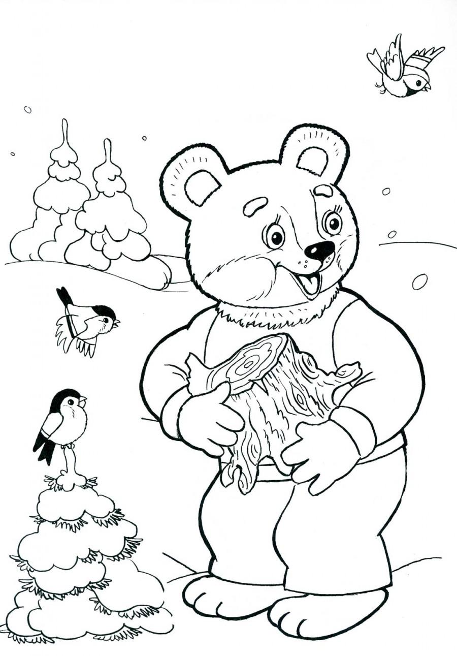 Зима в лесу и медведь - раскраска №3042 | Printonic.ru
