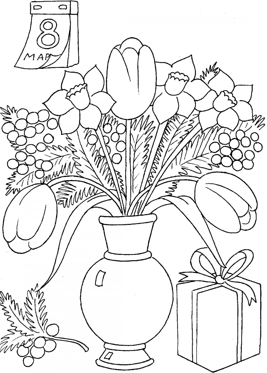 Весенние цветы на столе - раскраска №8705 | Printonic.ru