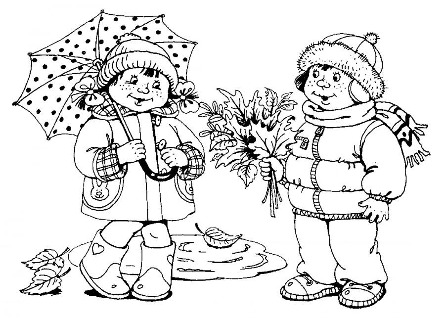 Дети в осенней одежде - раскраска №12715   Printonic.ru