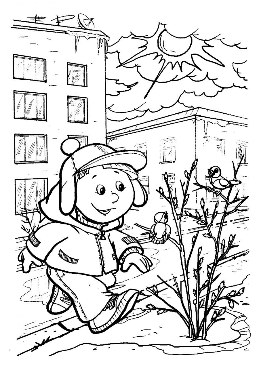 Весна в городе - раскраска №11251   Printonic.ru
