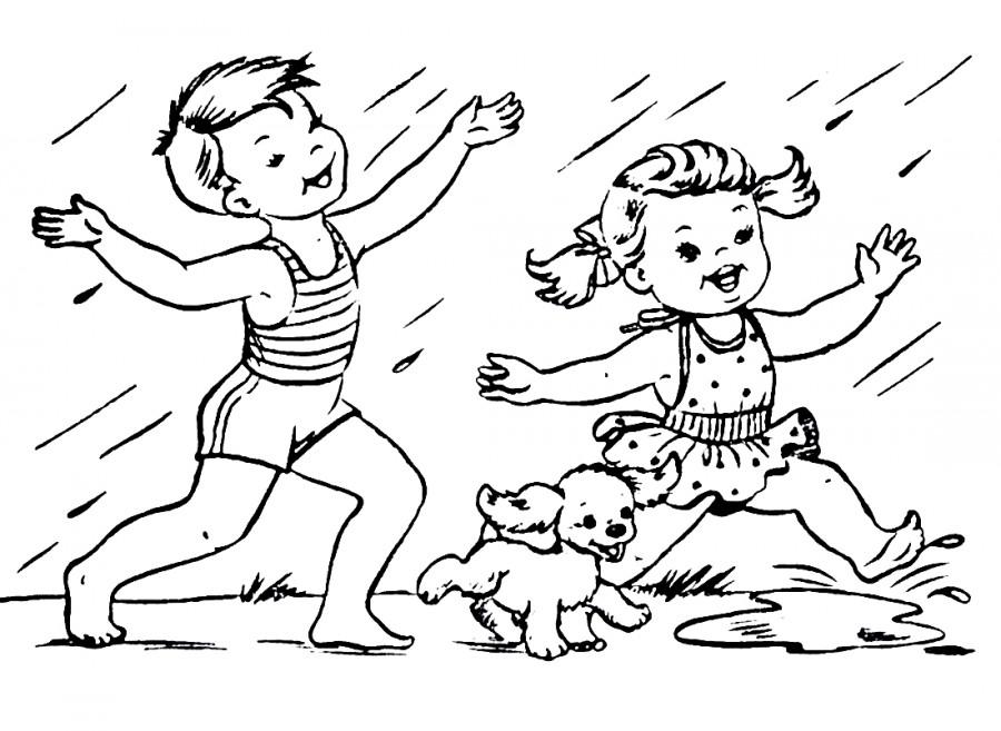 Дети и собака под дождиком - раскраска №14062 | Printonic.ru