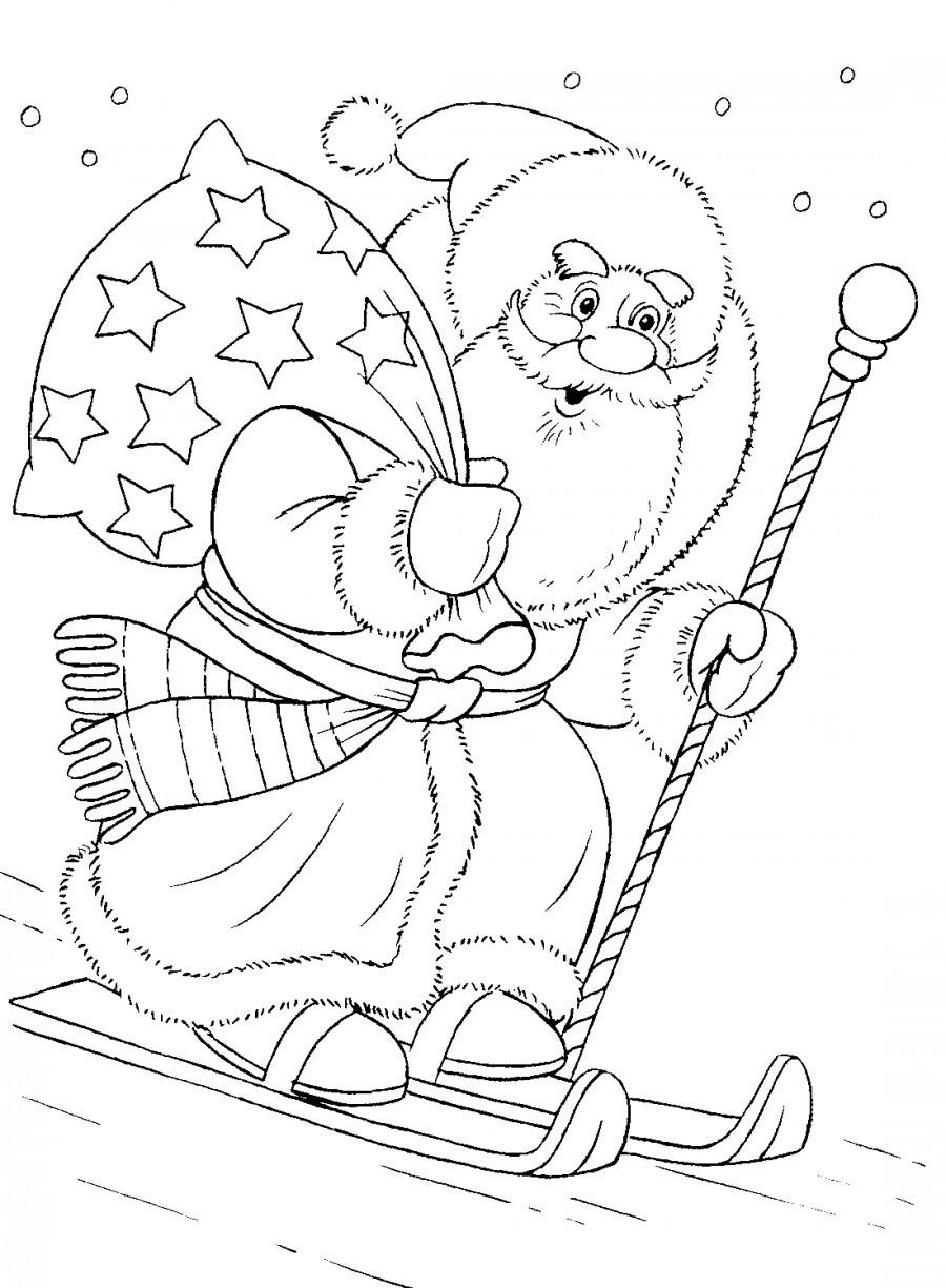 Дед мороз на лыжах и с подарками - раскраска №10800 ...