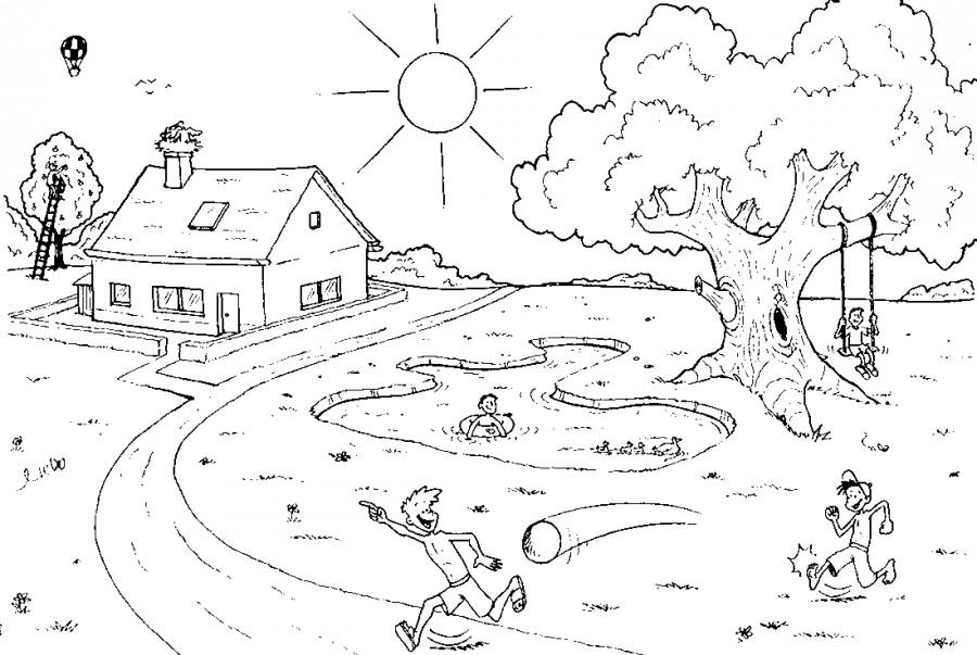 Летняя природа и домик - раскраска №6673 | Printonic.ru