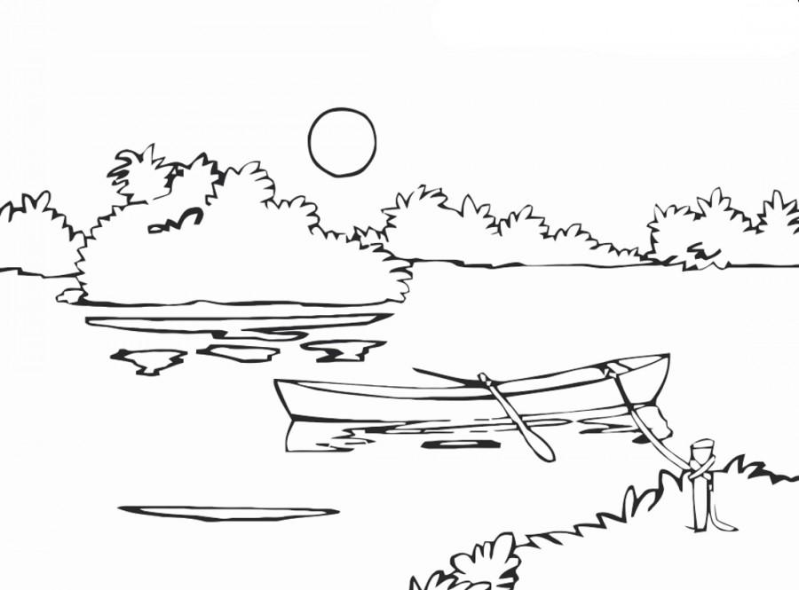 Лодочка на озере - раскраска №14263 | Printonic.ru