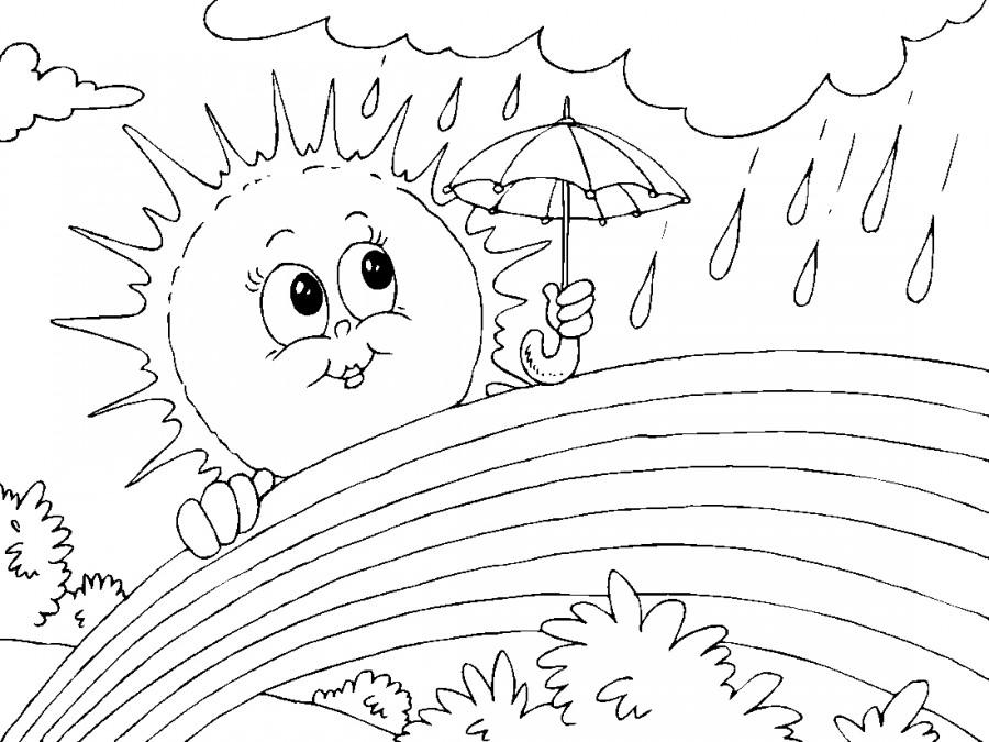 Солнышко и радуга - раскраска №5947 | Printonic.ru