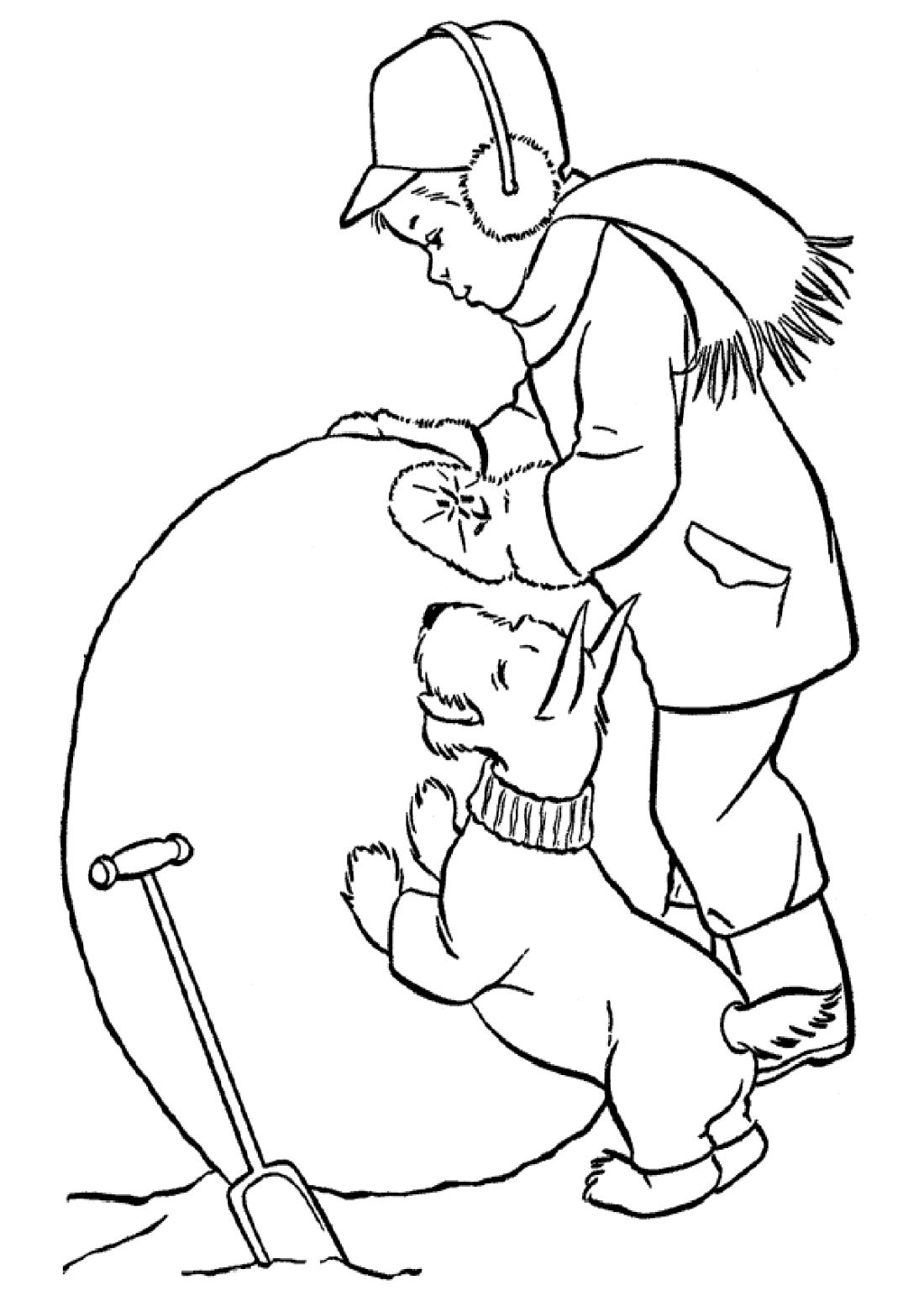 Мальчик и собака лепят большую снежку - раскраска №13577 ...