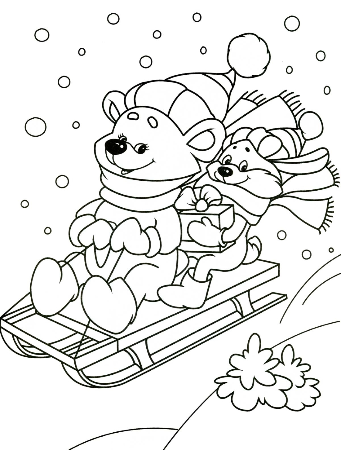 Раскрасить картинки на зиму
