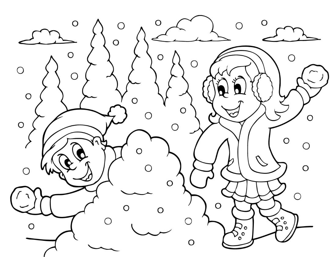 Картинка зима для детей детского сада раскраска