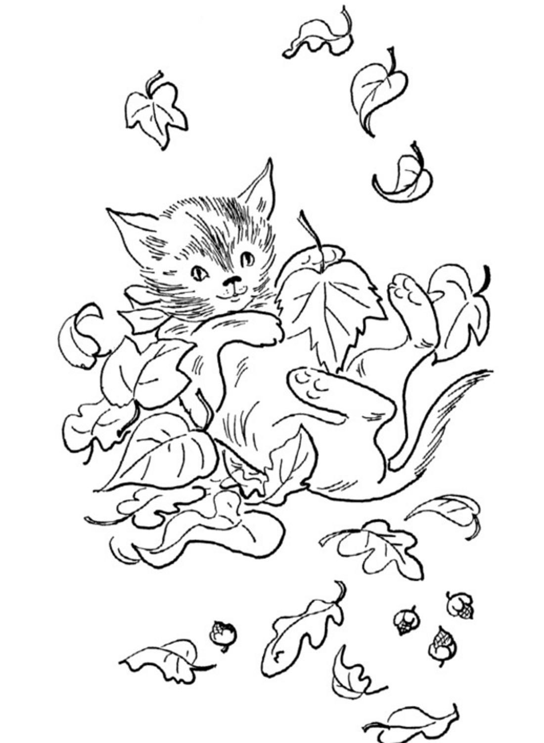 Котенок в осенних листочках - раскраска №10446 | Printonic.ru
