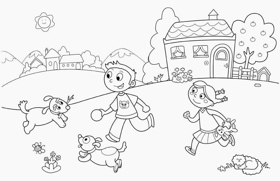Дети играют с животными - раскраска №11287 | Printonic.ru
