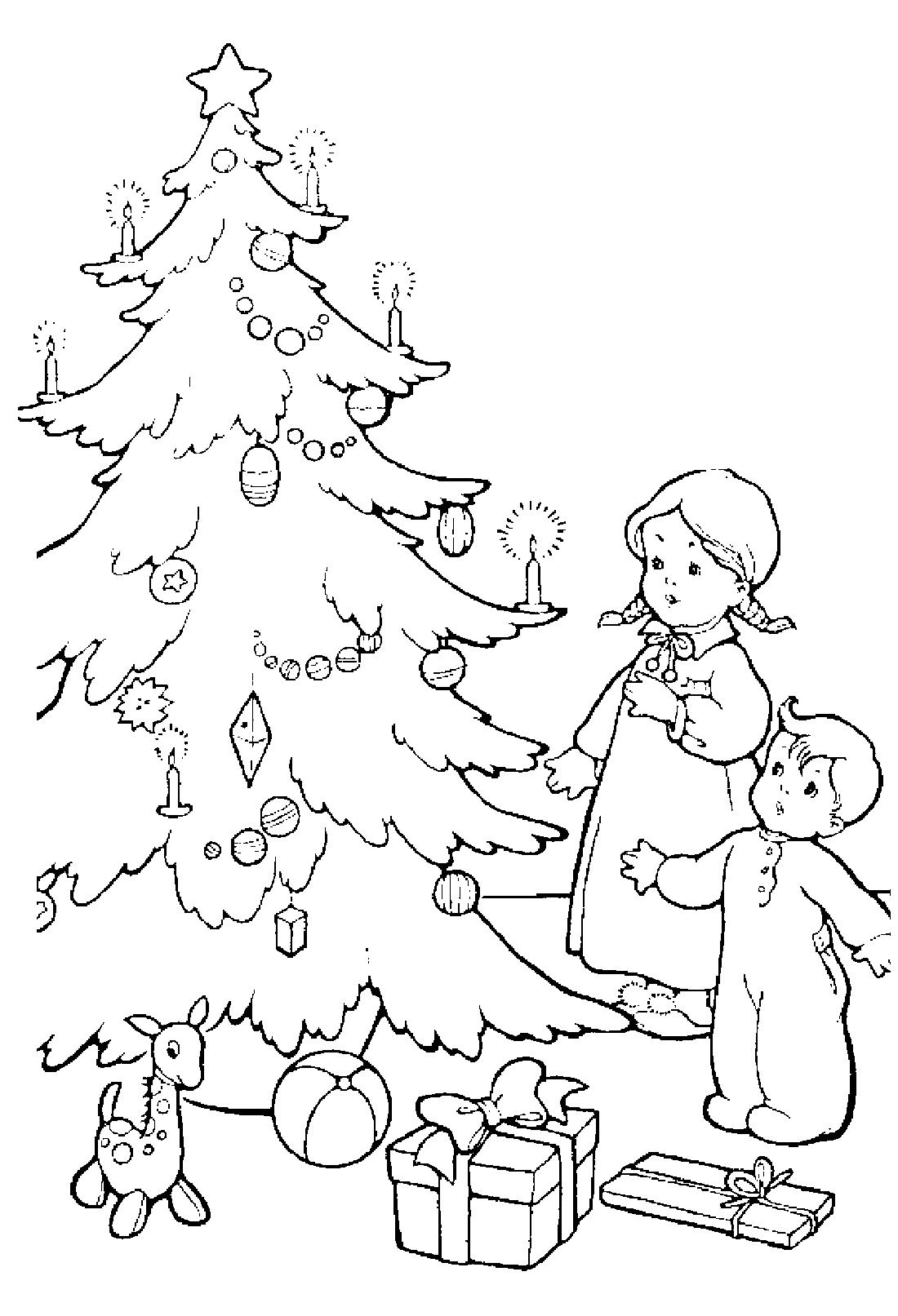 Дети в ожидании подарков на Новый год - раскраска №4092 ...