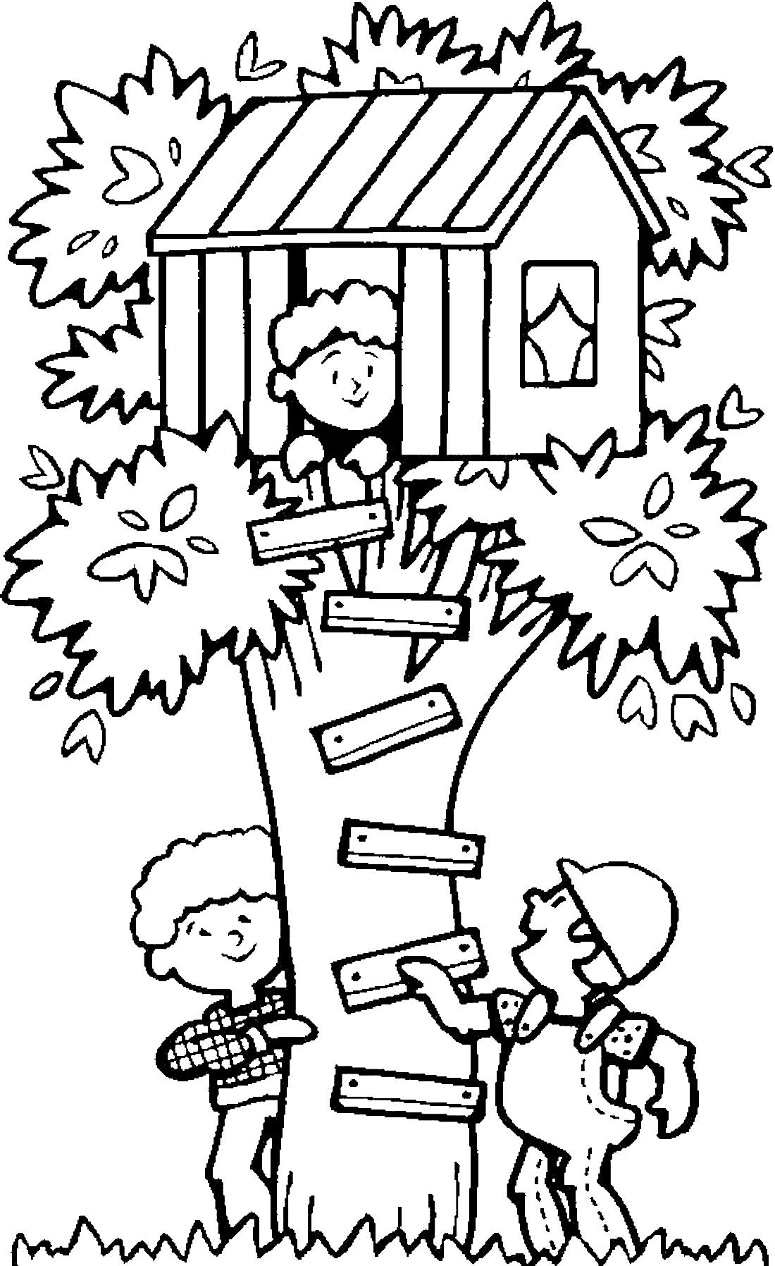 Летние игры на дереве - раскраска №3031 | Printonic.ru