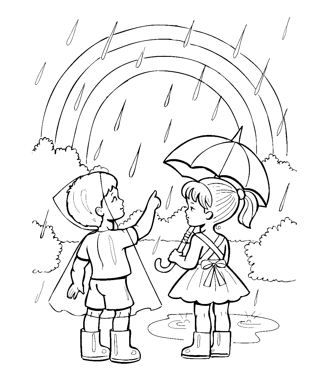 Летний дождик и радуга - раскраска №12109 | Printonic.ru
