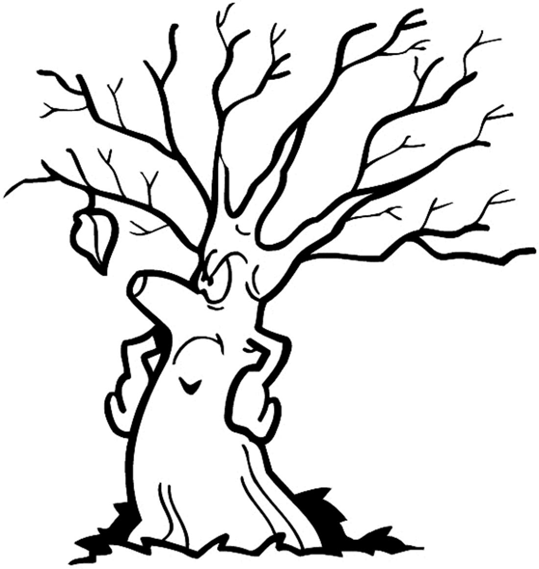 Смешное осеннее дерево - раскраска №10057 | Printonic.ru