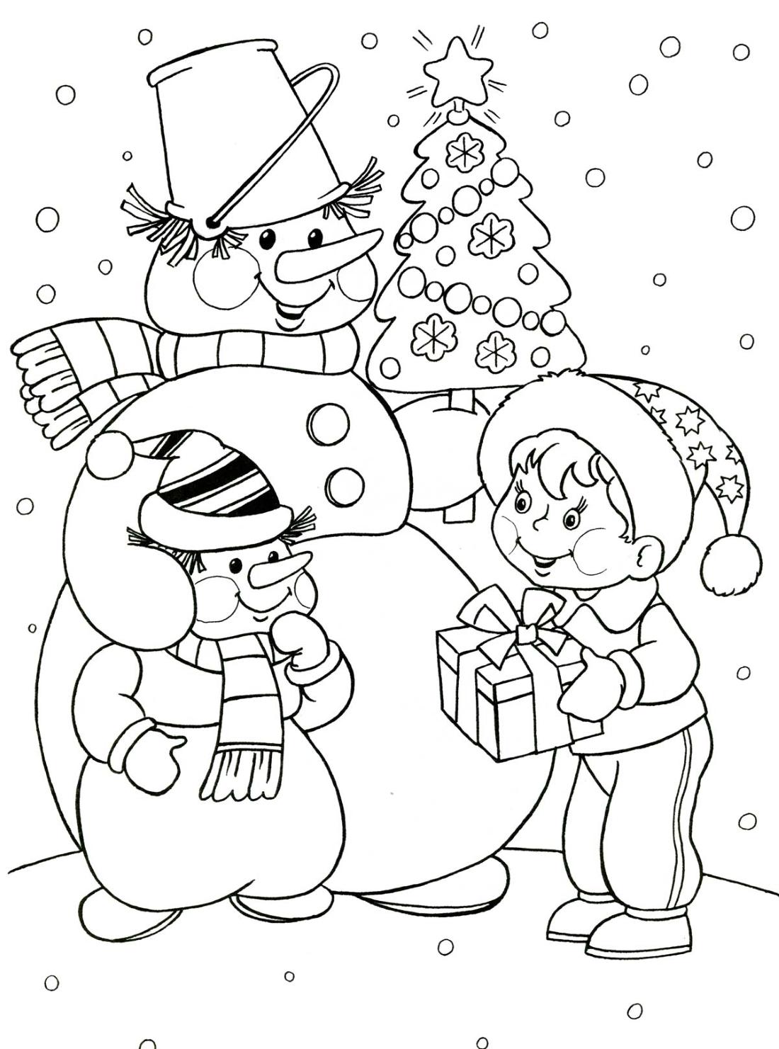 Снеговик со снеговенком и мальчик - раскраска №4091 ...