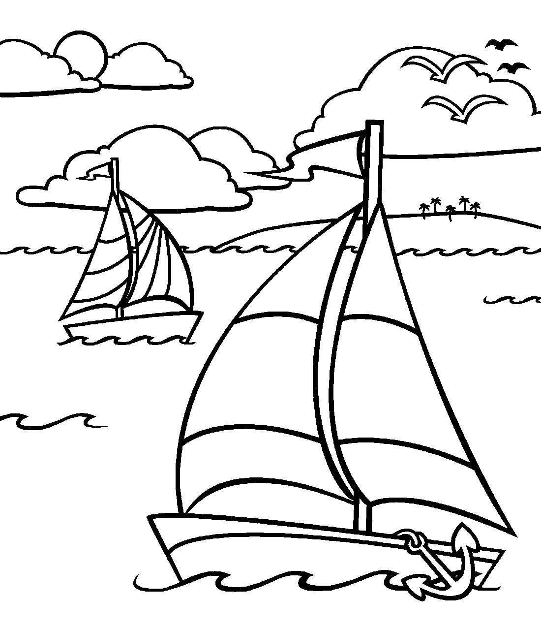 Море картинка для детей раскраска