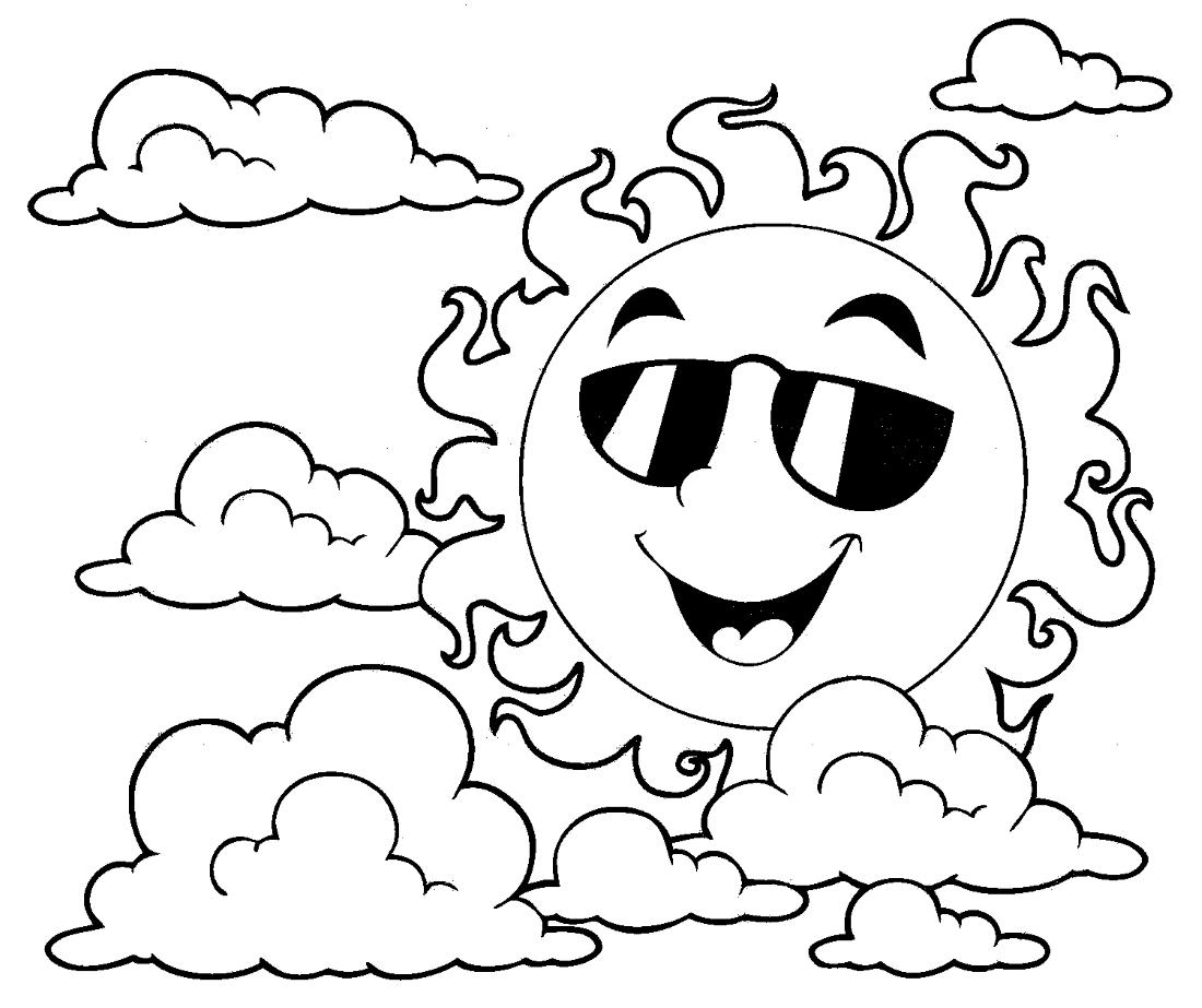 Солнышко в очках - раскраска №13956 | Printonic.ru