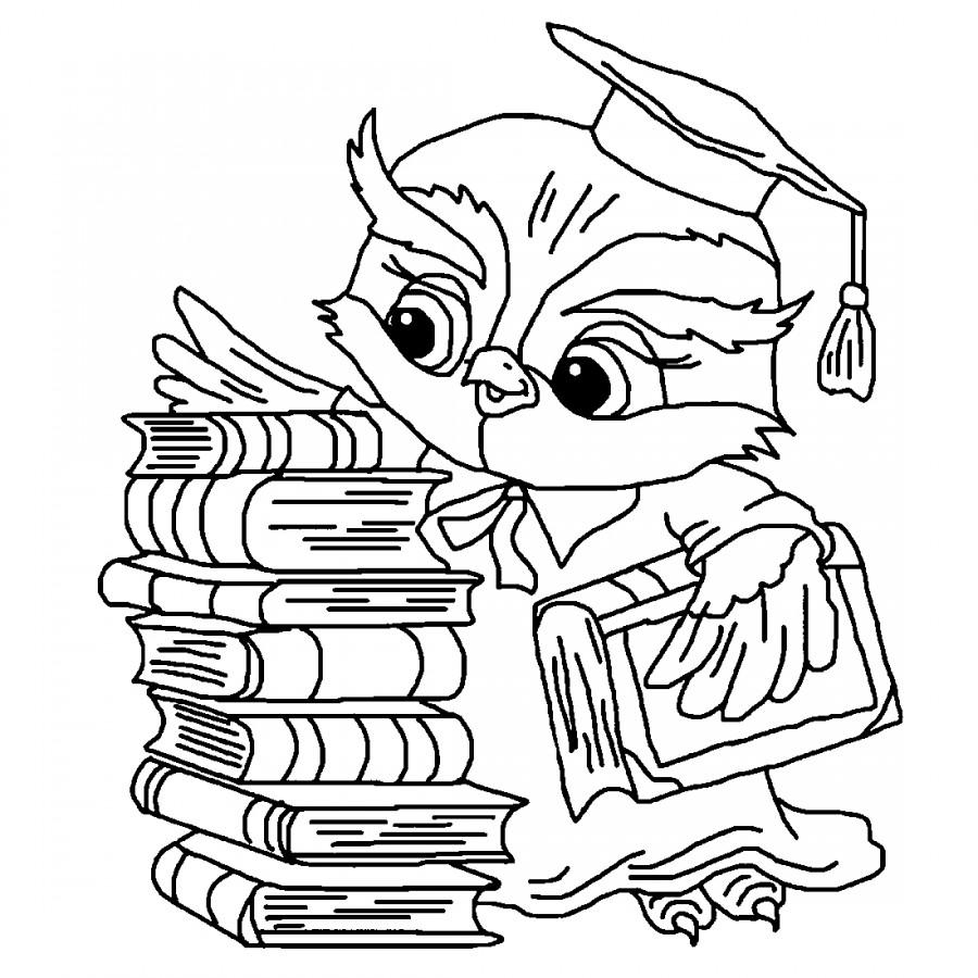 Сова с учебниками - раскраска №14177 | Printonic.ru