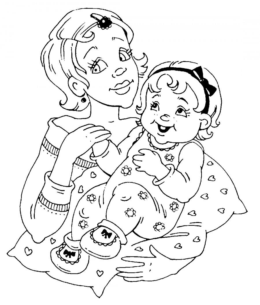 Мама с малышом - раскраска №10582 | Printonic.ru
