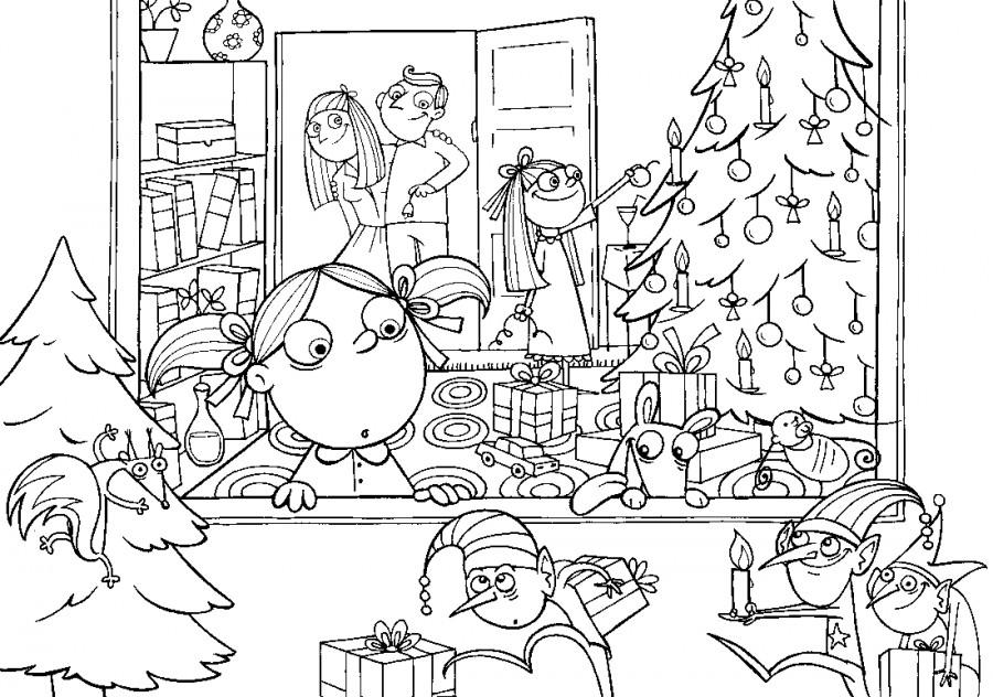 Дети и елка с подарками - раскраска №11119 | Printonic.ru