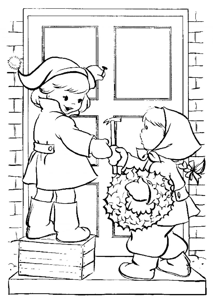 Дети украшают дом на Новый Год - раскраска №3209 ...