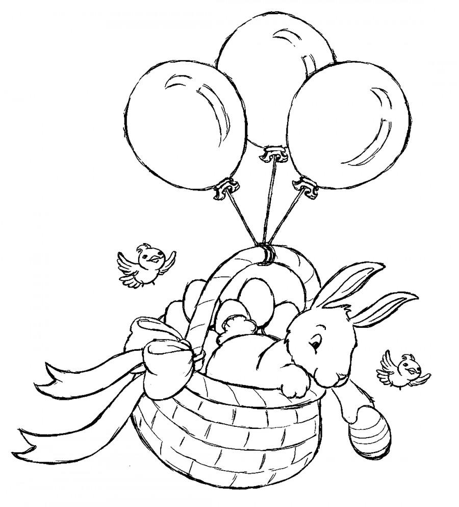 Кролик в корзине и шары - раскраска №12969 | Printonic.ru