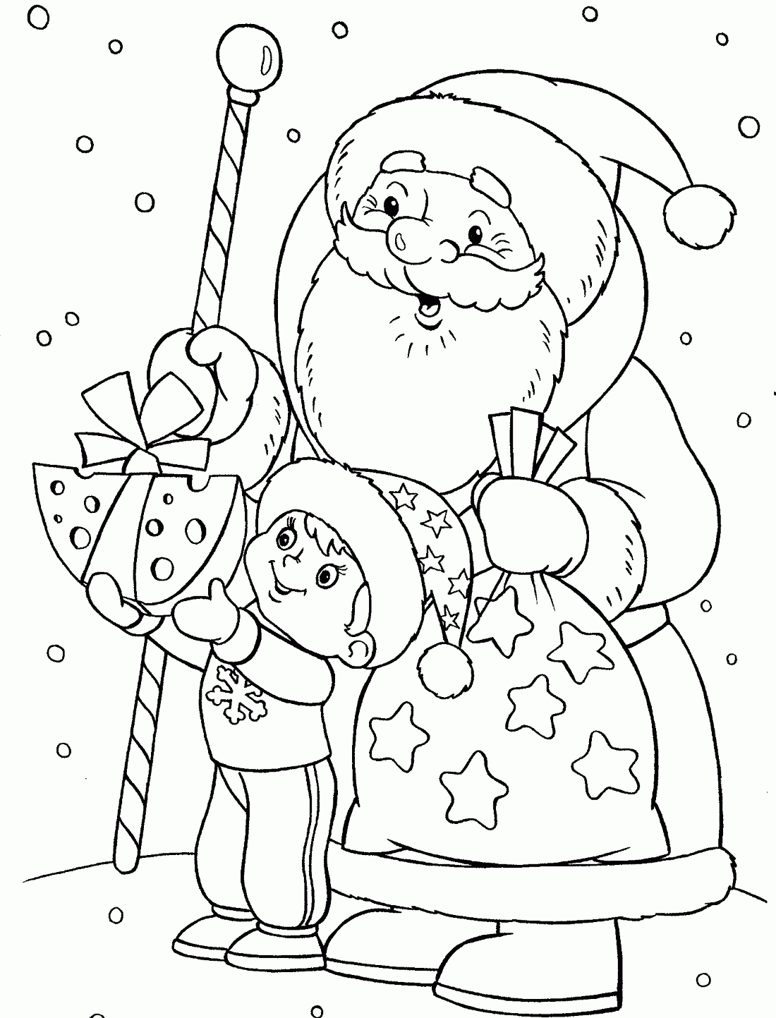 Дед мороз дарит сыр вороне - раскраска №12827 | Printonic.ru
