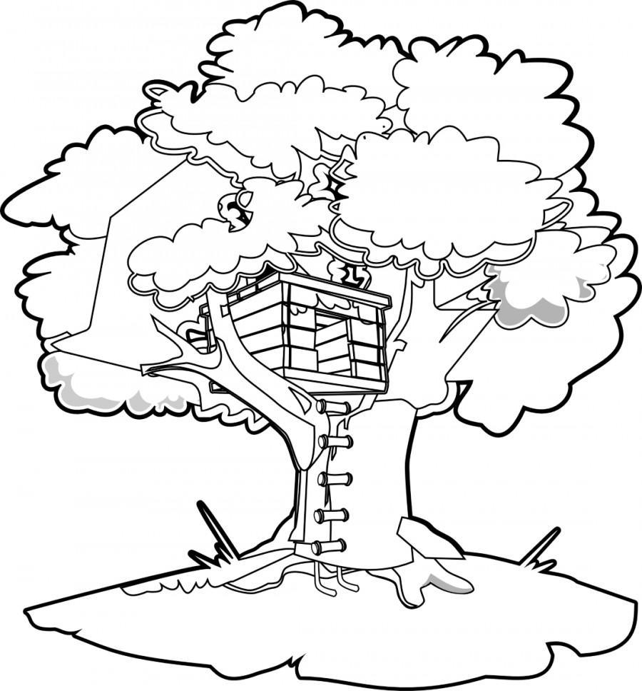 Домик на дереве - раскраска №5331 | Printonic.ru