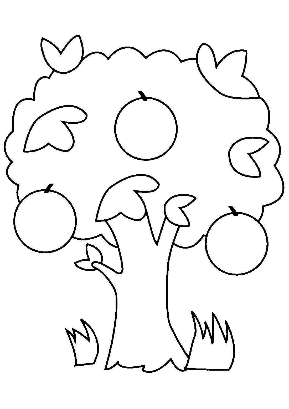 Простое дерево яблони - раскраска №11089 | Printonic.ru