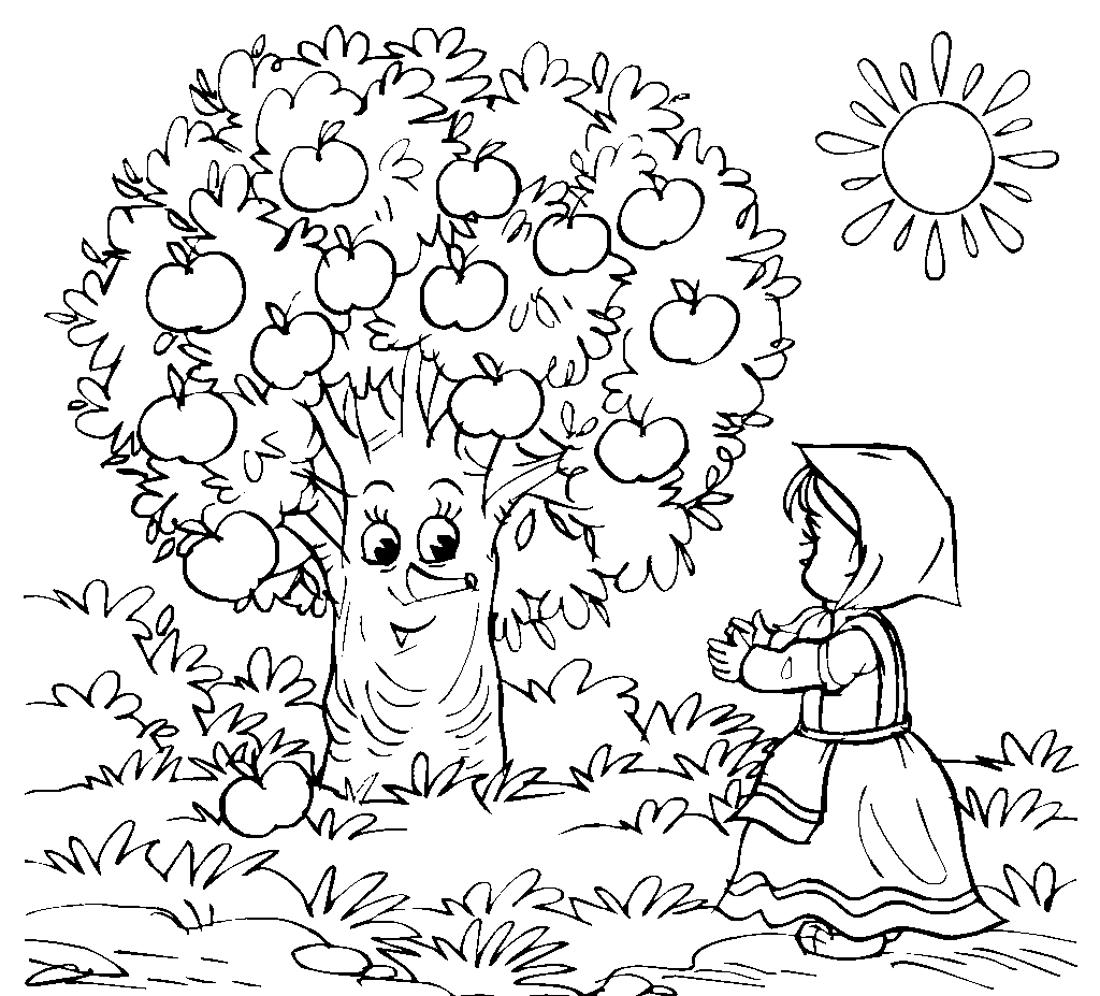Симпатичное яблочное дерево - раскраска №12317 | Printonic.ru