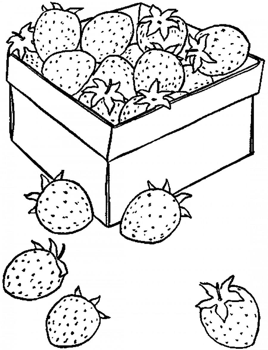 Клубника в коробке - раскраска №3979   Printonic.ru