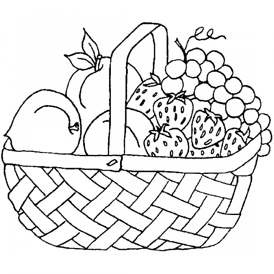 Фрукты в корзинке - раскраска №8553 | Printonic.ru