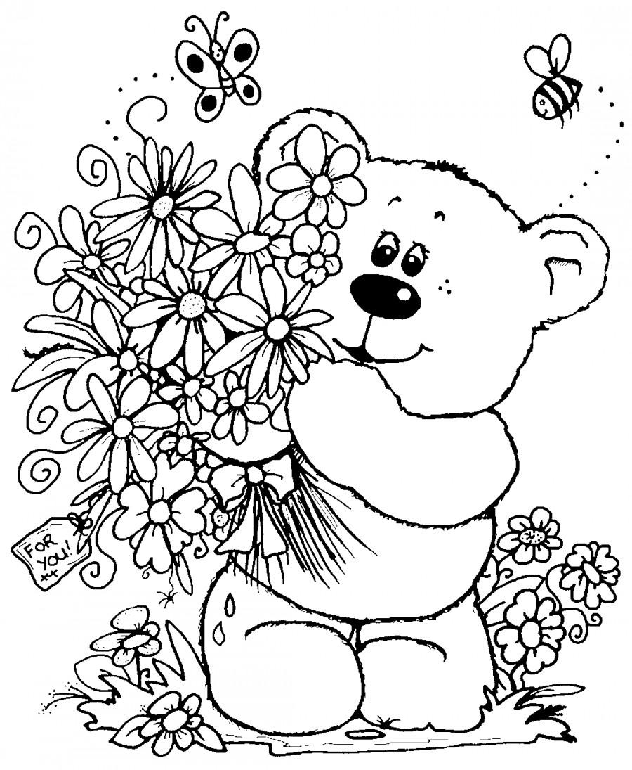 Цветы с медвежонком - раскраска №9802 | Printonic.ru