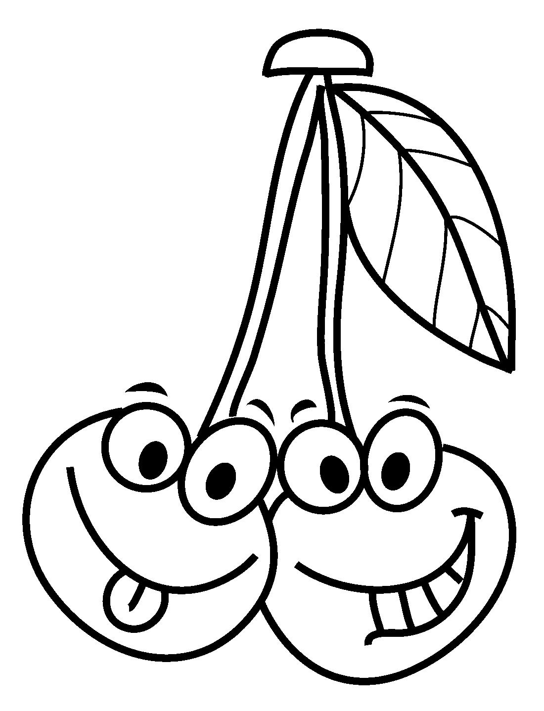 Картинка вишня для детей для раскрашивания